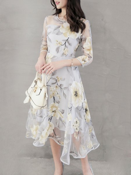Floral Printed Asymmetrical Elegant Dress