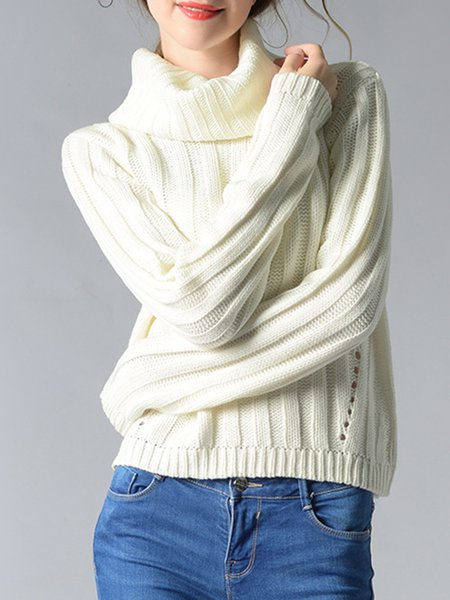 White Long Sleeve Cowl Neck Knitted Sweater