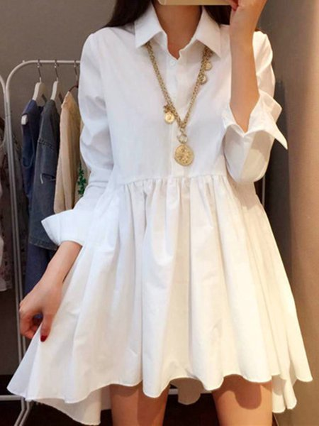 White Women Casual Dress Shirt Collar High Low Gathered Solid Dress