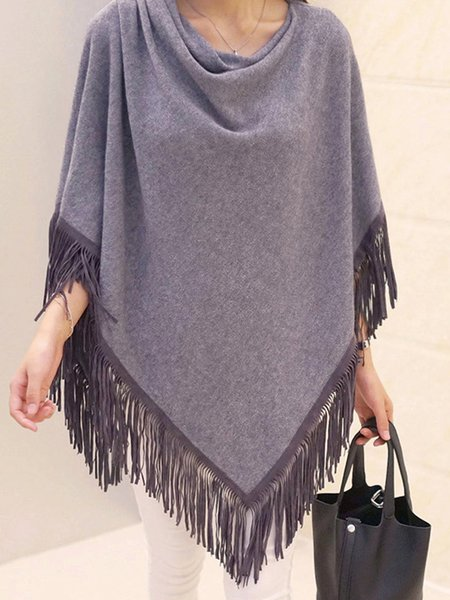 Knitted Cape Sleeve Fringed Solid Poncho