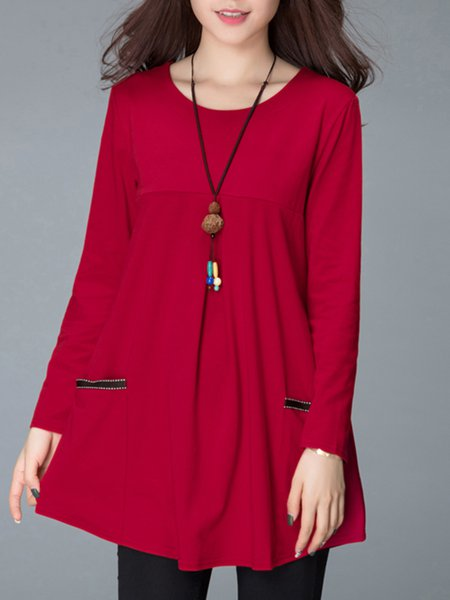 Plain Long Sleeve A-line Casual Paneled  Tunic