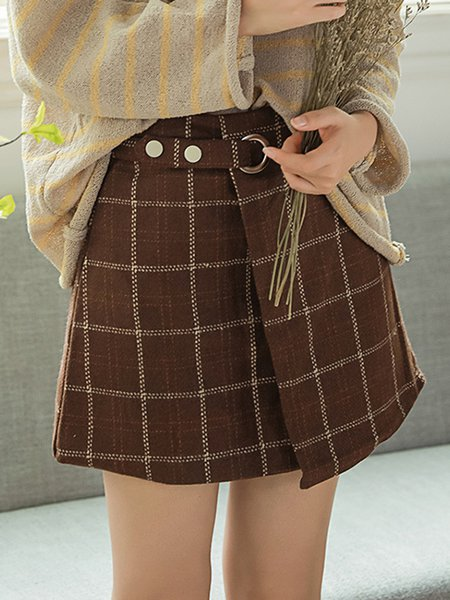 Coffee Buttoned Girly Checkered A-line Skirt