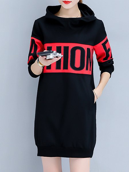 Casual Cocoon Letter Long Sleeve Paneled Dress