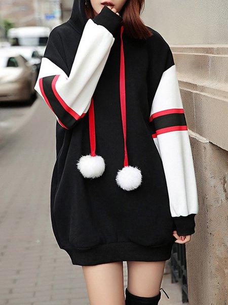 Long Sleeve Color-block Hoodie Dress