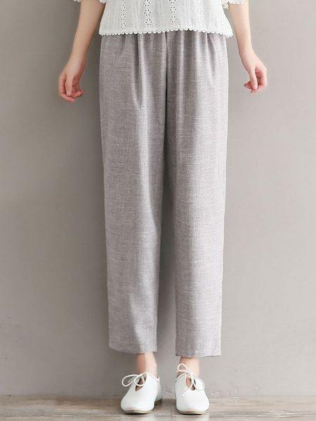 Gray Linen Pockets Plain Casual Pants