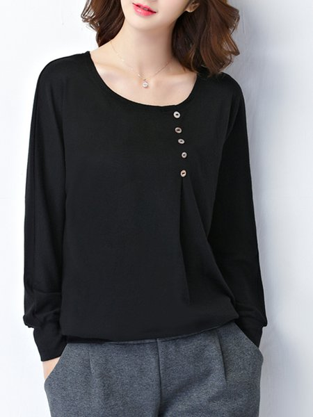 Black Plus Size Buttoned Crew Neck Long Sleeve Plus Size T-Shirt