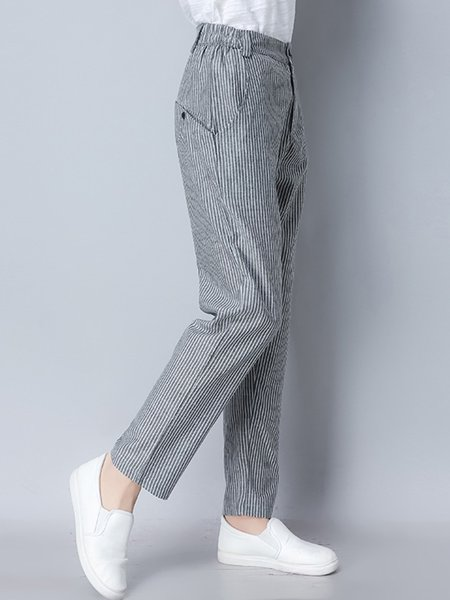 Gray Stripes Casual Buttoned Pants