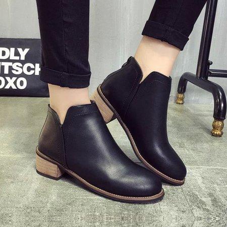 Low Heel PU Zipper Martin Boots
