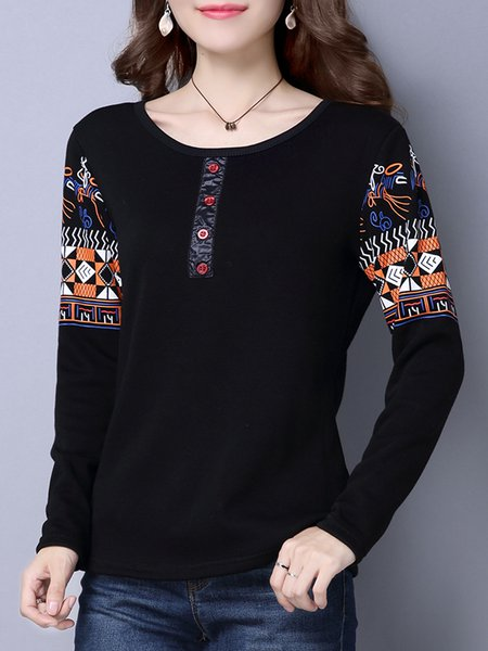 Long Sleeve Casual Buttoned Crew Neck  T-Shirt