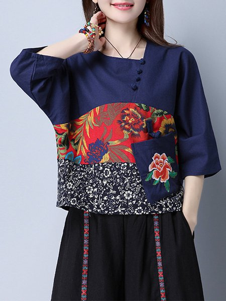 Pockets Square Neck Printed 3/4 Sleeve Buttoned Blouse