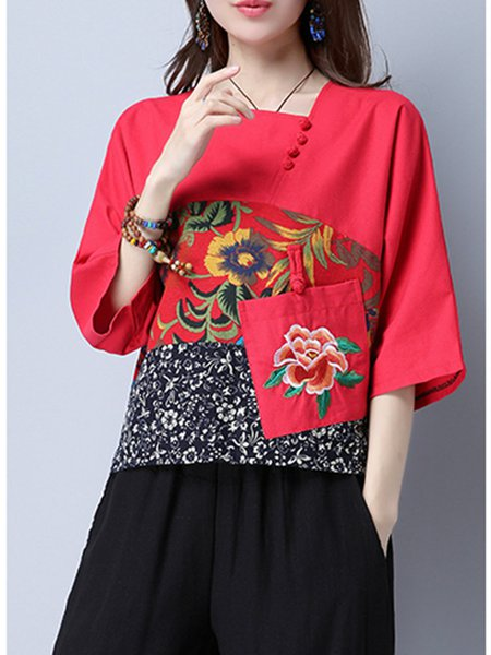 Buttoned Printed Square Neck 3/4 Sleeve Blouse