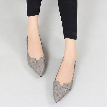 Gray Pointed Toe Women Slip-On Flats