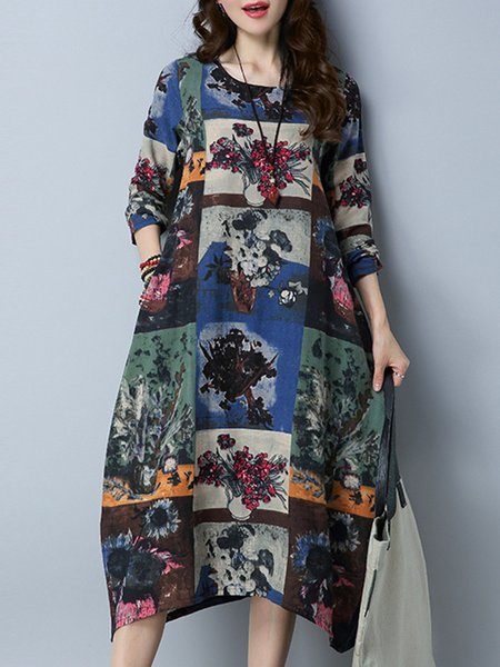 Multicolored Long Sleeve Cocoon Floral Dress