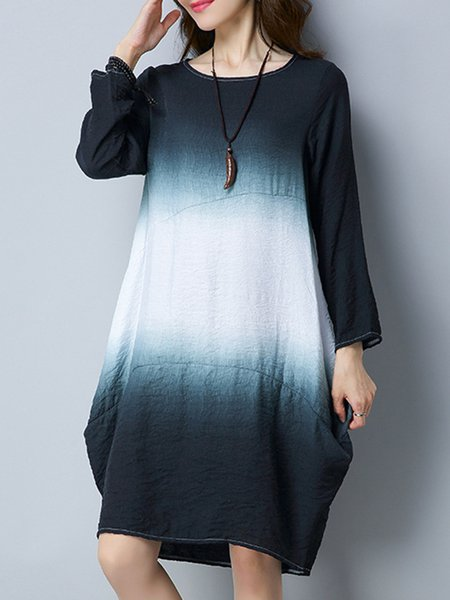Women Casual Dress Crew Neck Cocoon Going out Cotton Ombre/Tie-Dye Dress