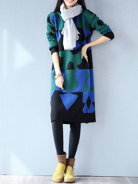 Color-block Long Sleeve H-line Knitted Sweater Dress