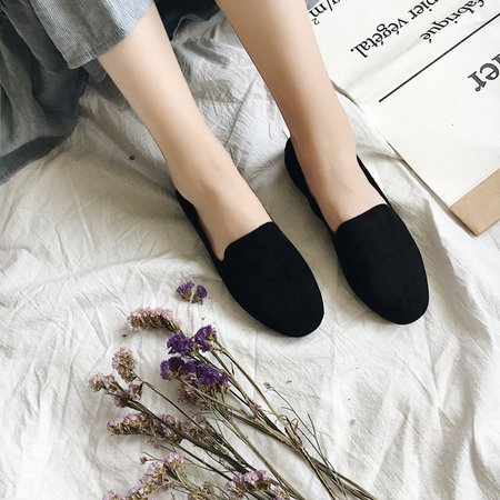 Round Toe Slip-On Women Suede Flats