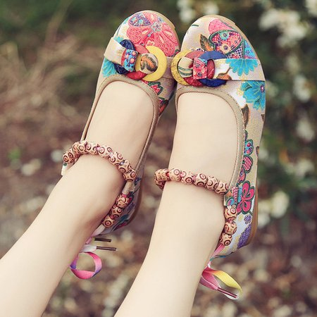 Multicolored Tribal Women Fabric Lace-Up Flats