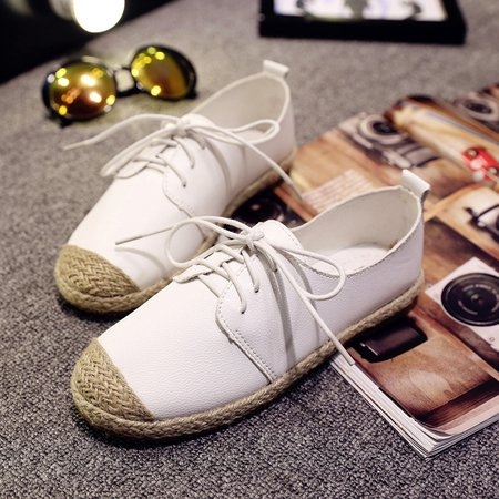 White Split Joint Women's Lace-Up Loafers