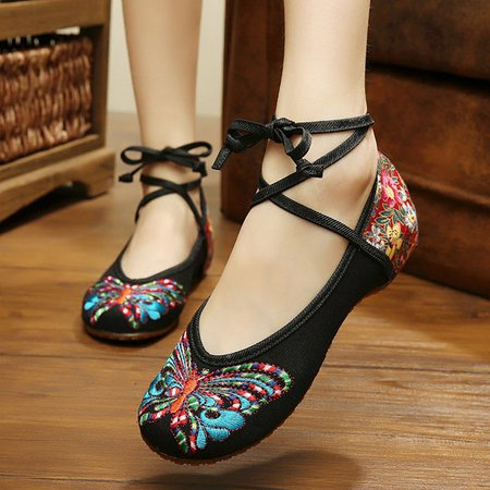 Embroidered Butterfly Women's Canvas Flats
