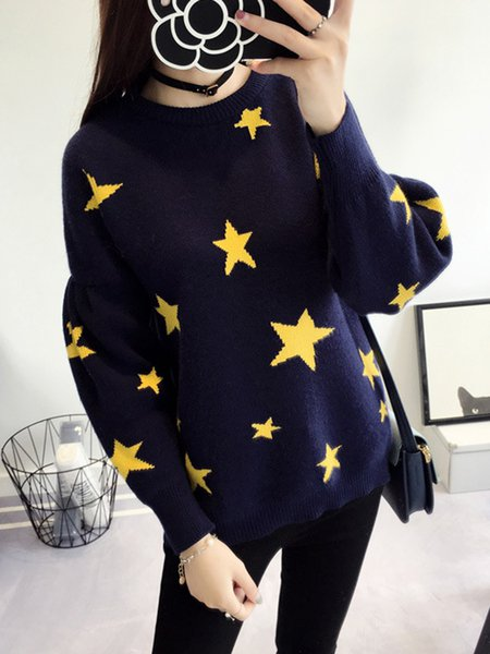 Casual Long Sleeve Star Crew Neck Knitted Sweater
