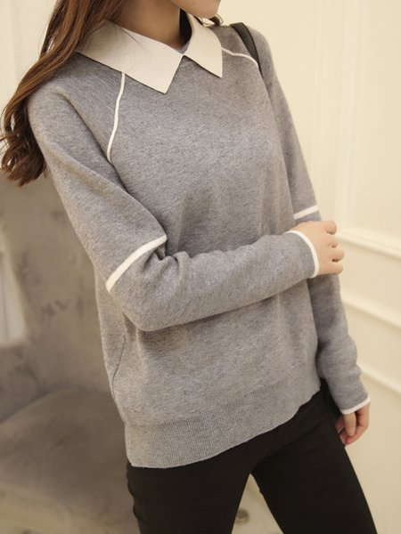 Casual Peter Pan Collar Long Sleeve Solid Knitted Sweater