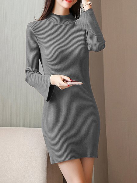 Bell Sleeve Knitted Stand Collar Solid Sweater Dress
