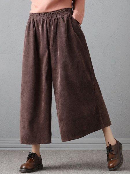 Coffee Casual Corduroy H-line Wide Leg Pants