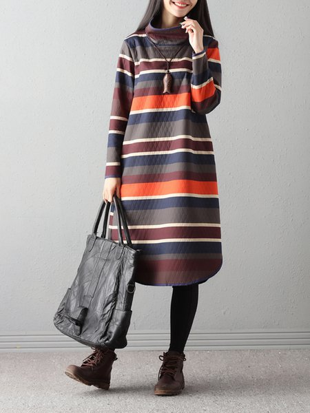 Turtle Neck Long Sleeve Stripes Casual Dress