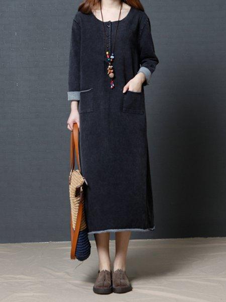 Black Long Sleeve Solid Pockets Casual Linen Dress