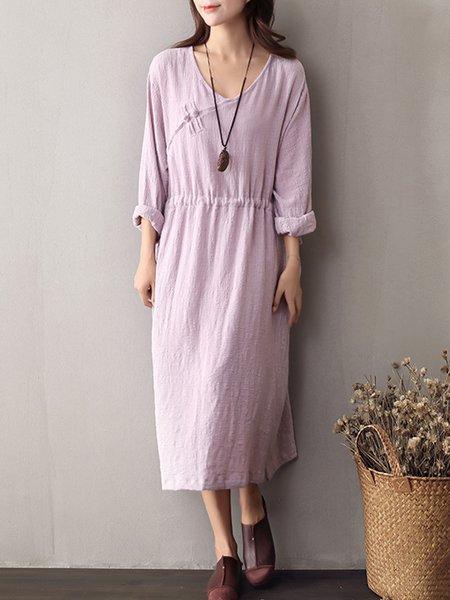 Long Sleeve Linen Plain H-line Dress