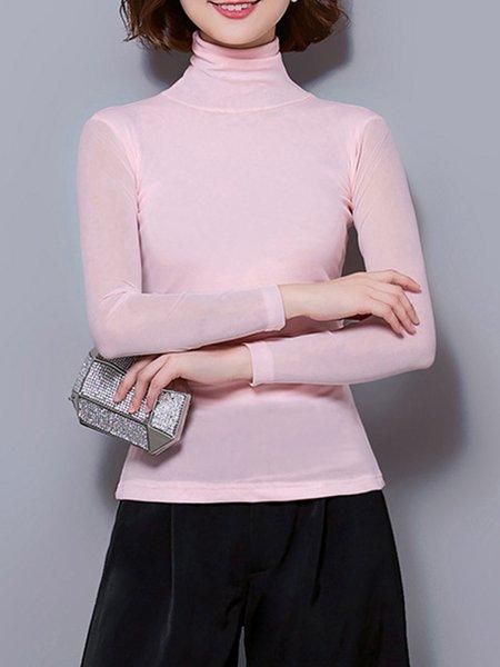 Sheath Plain Simple Long Sleeve Blouse