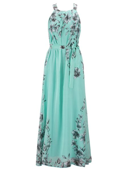 Chiffon Resort Halter Swing Sleeveless Maxi Dress with Belt