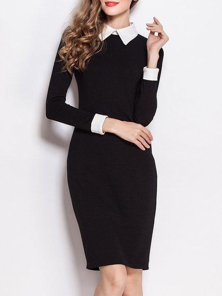 Black Women Elegant Dress Shirt Collar Sheath Daytime Elegant Solid Dress