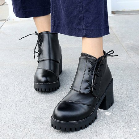 Black Women PU Ankle Lace Up Boots