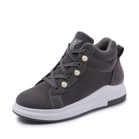 Black Women Beaded Lace-Up Fashion Sneakers