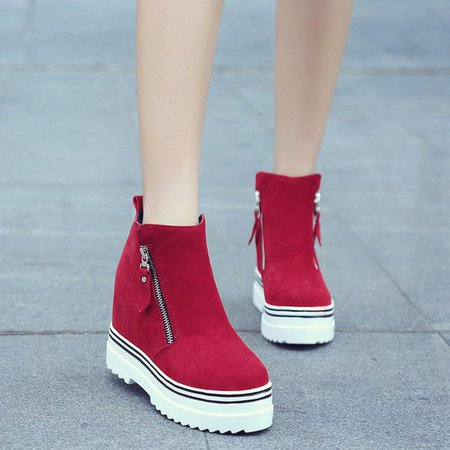 Round Toe Platform Women Suede Fashion Sneakers