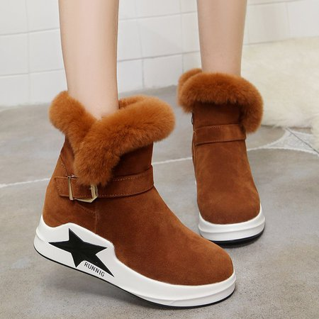 Furry Buckle Suede Women Ankle Snow Boots