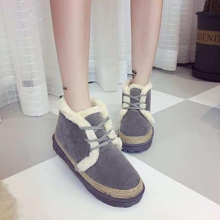 Fleece-lined Ankle Suede Women Lace-Up Boots