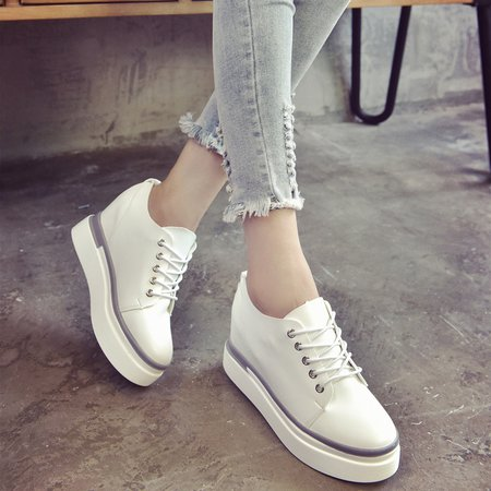 White Women Lace Up Platform Fashion Sneakers