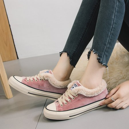Fleece-lined Lace-Up Women Fashion Sneakers