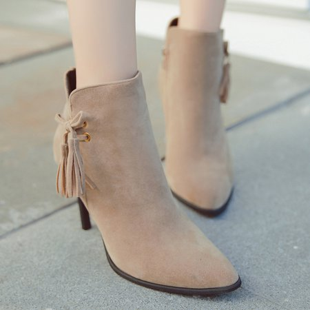 Pointed Toe Women Ankle Stiletto Heel Boots