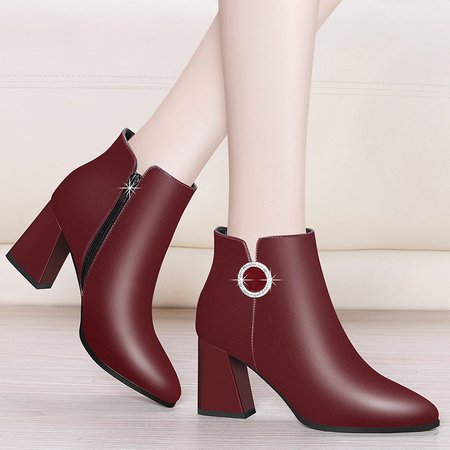 Pointed Toe Chunky Heel Women Slip-On Ankle Boots