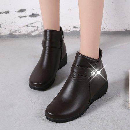 Fleece-lined PU Ankle Women Slip-On Boots