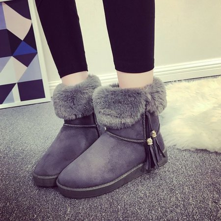 Gray Fringed Women Ankle Suede Snow Boots