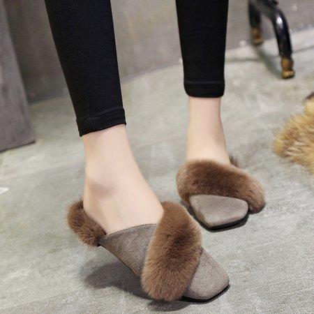 Furry Slip-On Women Suede Slippers