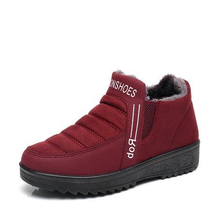 Fleece-lined Slip-On Ankle Women Boots