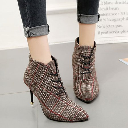 Pointed Toe Women Stiletto Heel Lace-Up Plaid Boots