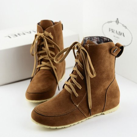 Lace-Up Ankle Suede Round Toe Women Boots