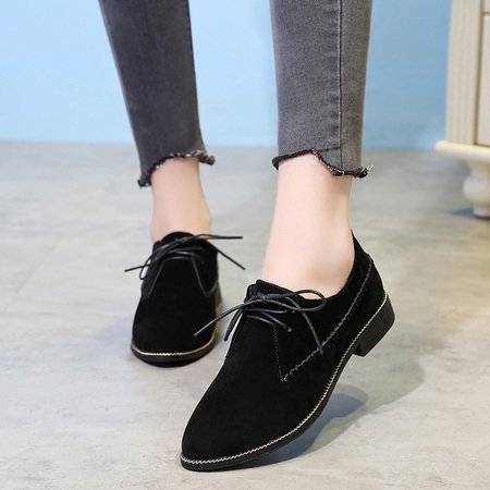 Black Lace-Up Women's Suede Oxfords