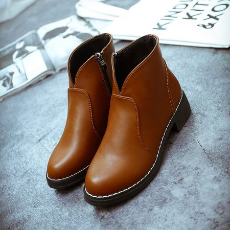 Slip-On Women's Round Toe Zipper Ankle Boots